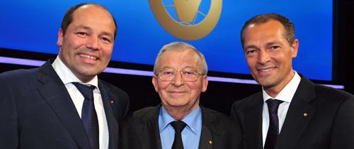DVAG-Gründer Professor Reinfried Pohl mit seinen Söhnen Reinfried und Andreas