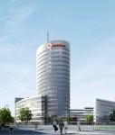So soll das Vodafone-Areal nach der für Ende 2012 geplanten Fertigstellung aussehen.