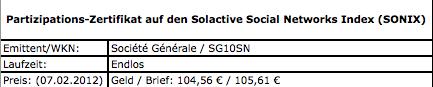 Partizipations-Zertifikat-SONIX