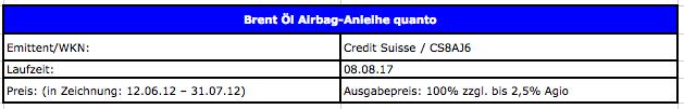 """Airbag-Anleihe in Öl-Investment mit """"Super-Airbag"""""""