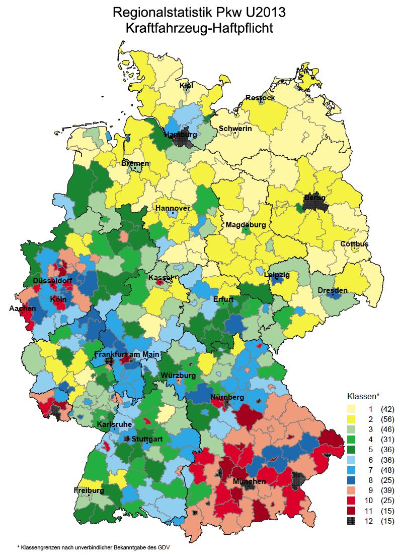 Kfz-Versicherung: Schwerin am günstigsten