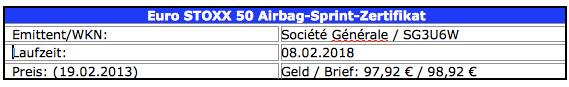 Boerse-Go-Euro-Stoxx-50-Sprint-Airbag-Zertifikat in Tausche Dividende gegen Airbag und zweifachen Hebel