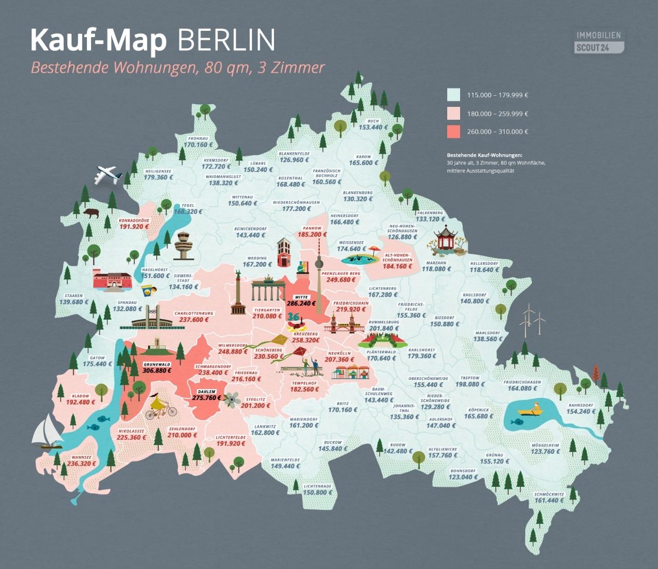 Kauf-map-bestandswohnungen in Kauf-Map Berlin: Wie teuer ist welcher Stadtbezirk?