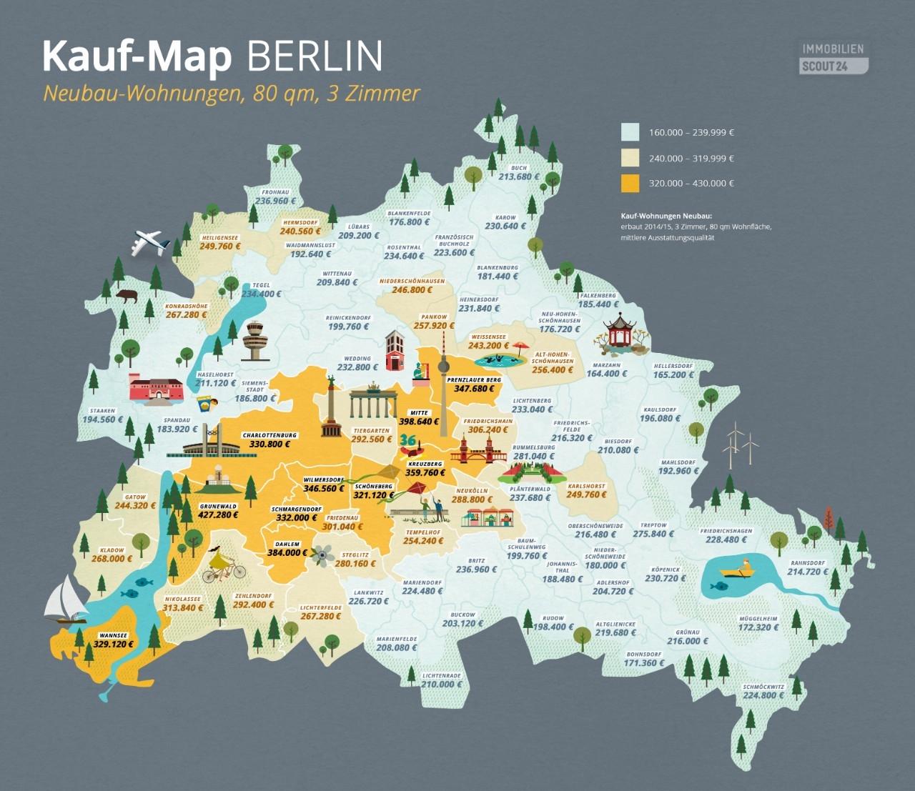 Kauf-map-neubauwohnungen in Kauf-Map Berlin: Wie teuer ist welcher Stadtbezirk?