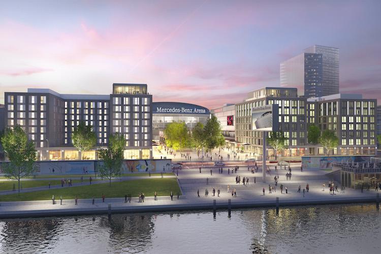 Visualisierung Mercedes-Platz Berlin in Real I.S. kauft Neubau am Ufer der Spree
