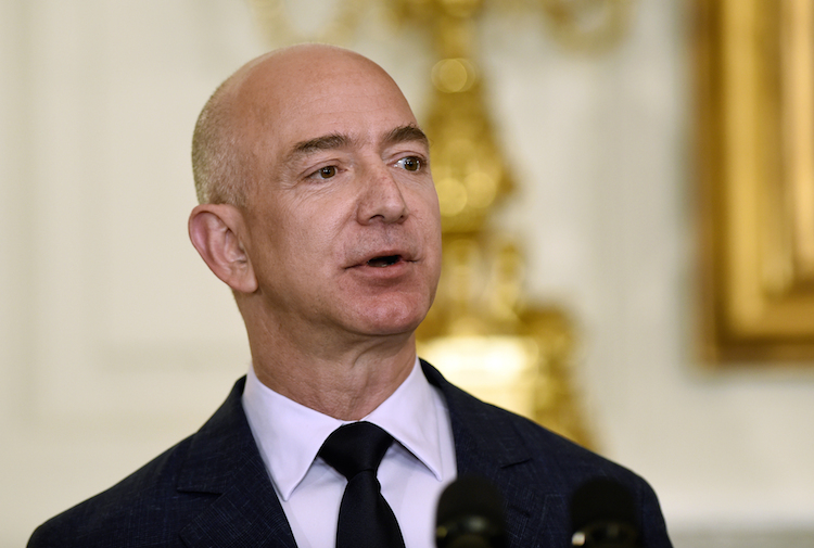 FILE - In this May 5, 2016, file photo, Jeff Bezos, the founder and CEO of Amazon.com, speaks in the State Dining Room of the White House in Washington. In a milestone announced Tuesday, March 6, 2018, Bezos has become the first person to amass a fortune surpassing $100 billion in Forbes magazine's annual ranking of the world's moguls. (AP Photo/Susan Walsh, File) |