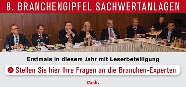 8 BG-Banner in 8. Cash.-Branchengipfel Sachwertanlagen