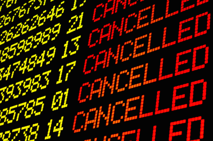 Flugtafel in Cancelled – Welche Rechte Fluggäste haben