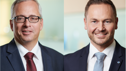 Porträtfotos von Norman Lemke und David Schäfer, beide mit weißem Hemd, Sakko und Krawatte