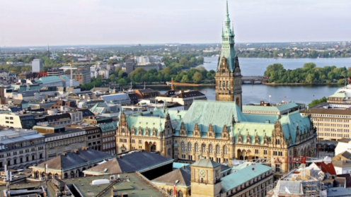 Blick auf die City von Hamburg