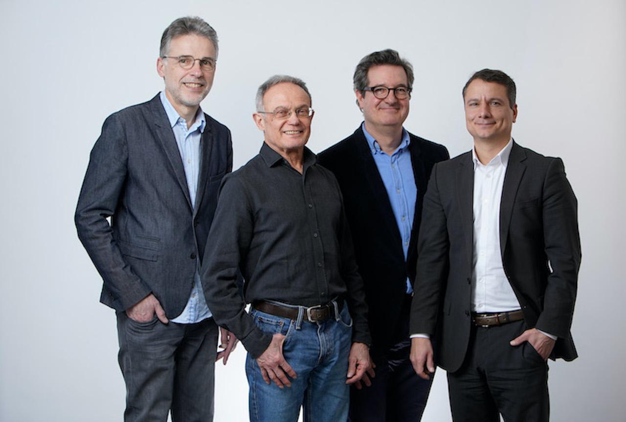Mailo-Vorstand Sten Nahrgang, Aufsichtsratsvorsitzender Dietmar Meister , Mitgründer und Vorstandsvorsitzender Dr. Matthias Uebing sowie Armin Molla beim Fotoshooting in Köln