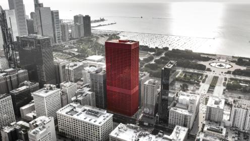 Skyline in schwarz-weiß mit einem roten Wolkenkratzer