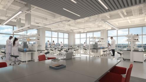 Menschen arbeiten in einem Labor mit Ausblick über Boston im Objekt der Deutsche Finance, Visualiserung