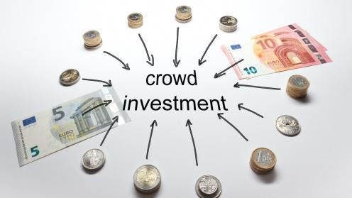 Kreis aus Geldscheinen und Münzen um das Wort Crowdinvesting
