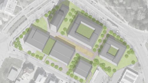 Zeichnung der geplanten Gebäude-Blöcke des ZBI Projekts von oben
