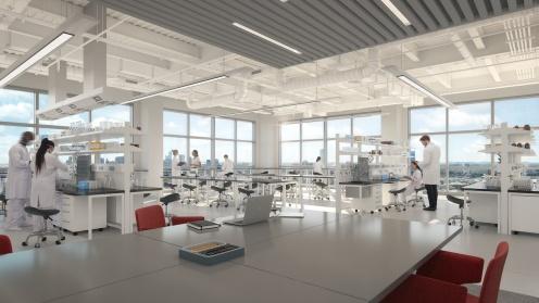 Visualisierung eines Labors im Deutsche Finance Objekt hoch über Boston