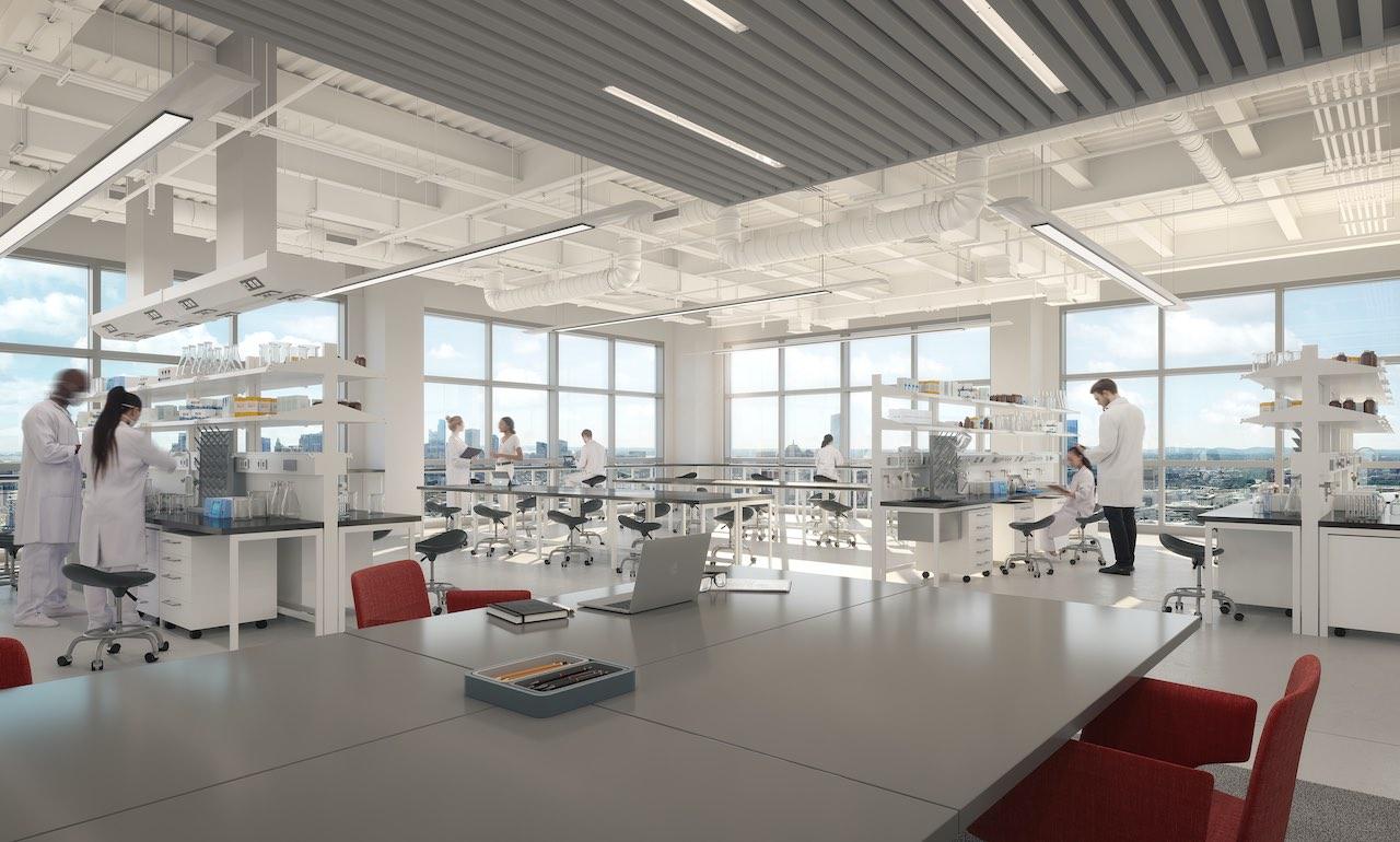 Visualisierung mit Forschern in dem geplanten Laboffice der Deutschen Finance Laborflächen