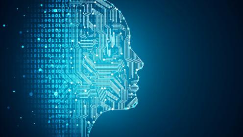 Kopf mit Schaltkreisen als Symbol für Künstliche Intelligenz