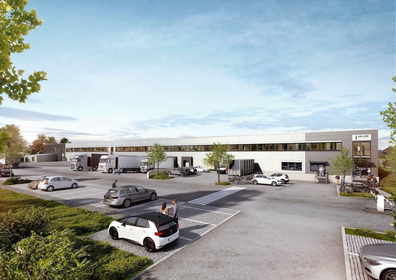 Logistikhalle mit Parkplatz, wie Valor Real Estate sie plant